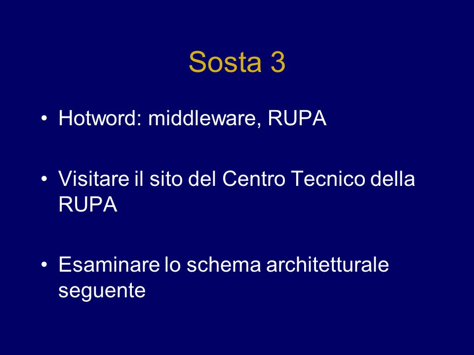 Sosta 3 Hotword: middleware, RUPA