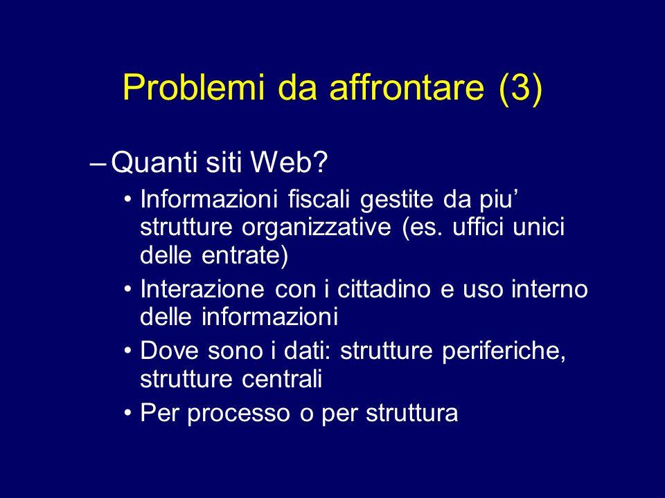 Problemi da affrontare (3)