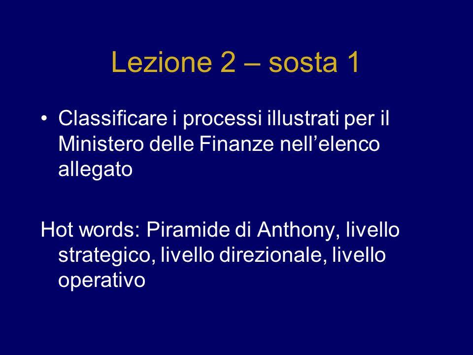 Lezione 2 – sosta 1 Classificare i processi illustrati per il Ministero delle Finanze nell'elenco allegato.