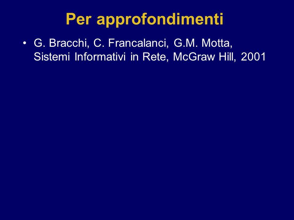 Per approfondimenti G. Bracchi, C. Francalanci, G.M. Motta, Sistemi Informativi in Rete, McGraw Hill, 2001.