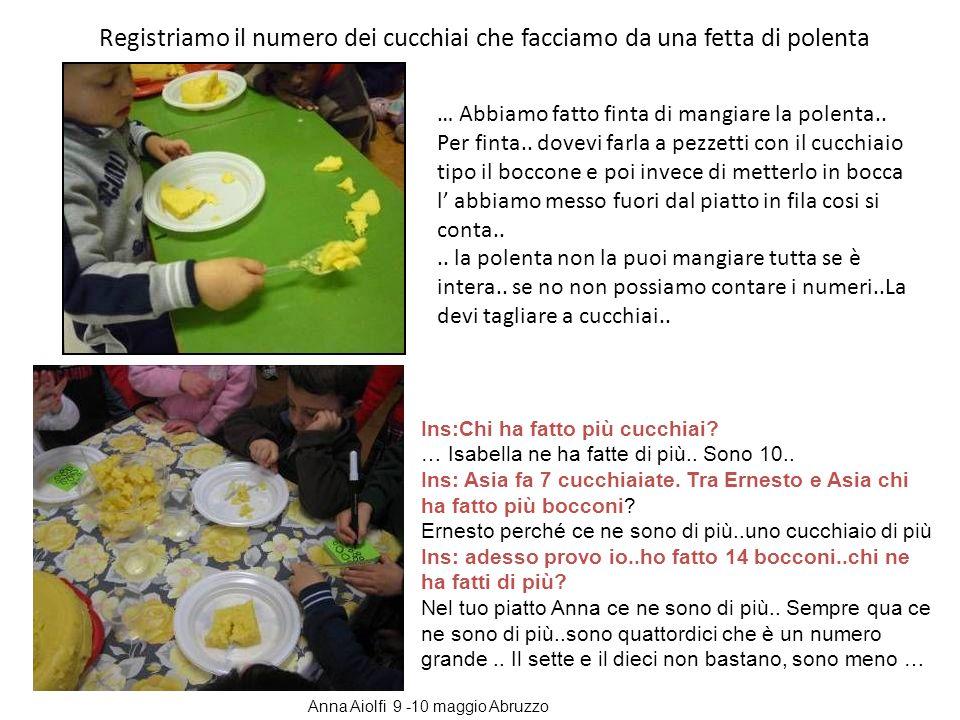 Registriamo il numero dei cucchiai che facciamo da una fetta di polenta