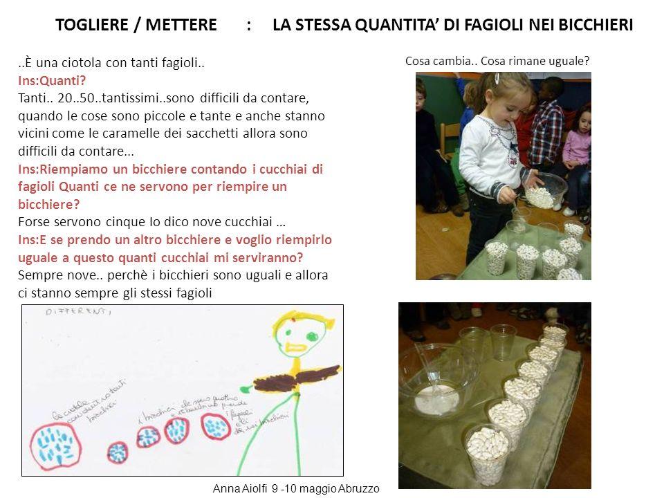 TOGLIERE / METTERE : LA STESSA QUANTITA' DI FAGIOLI NEI BICCHIERI