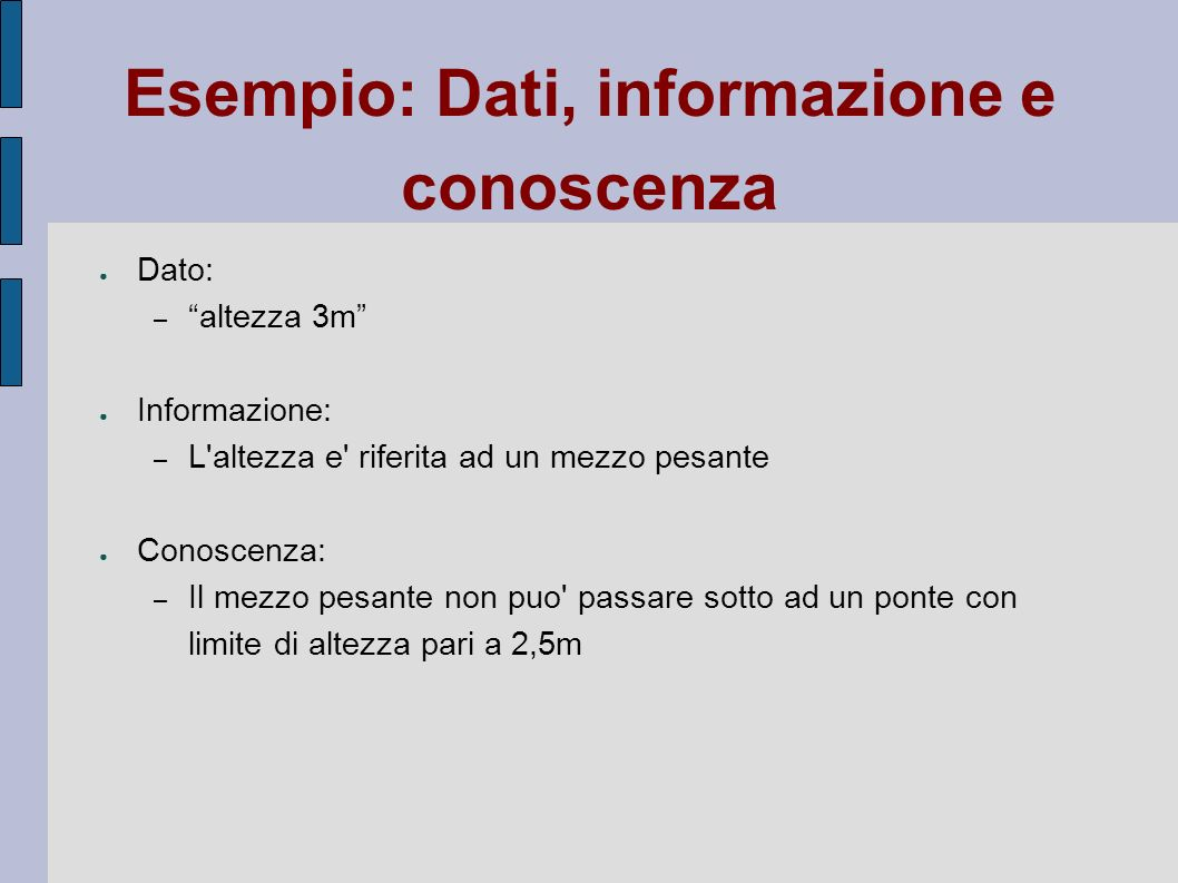 Esempio: Dati, informazione e conoscenza