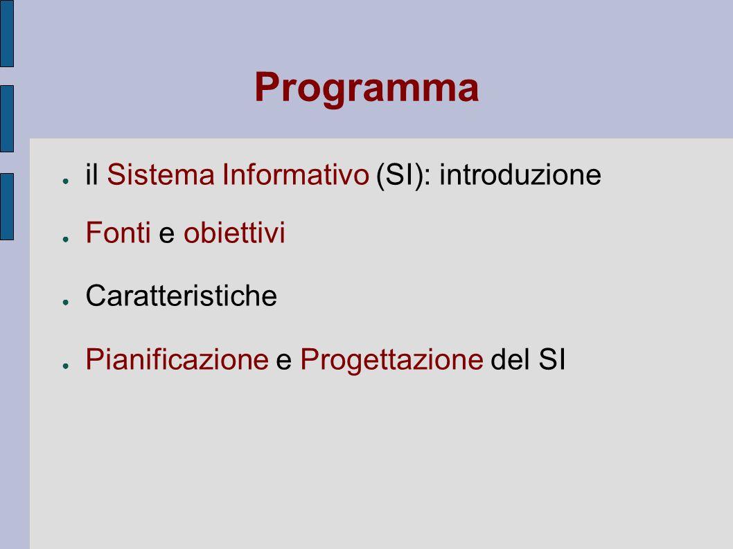 Programma il Sistema Informativo (SI): introduzione Fonti e obiettivi