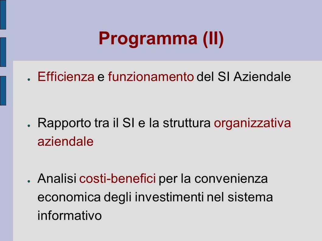 Programma (II) Efficienza e funzionamento del SI Aziendale
