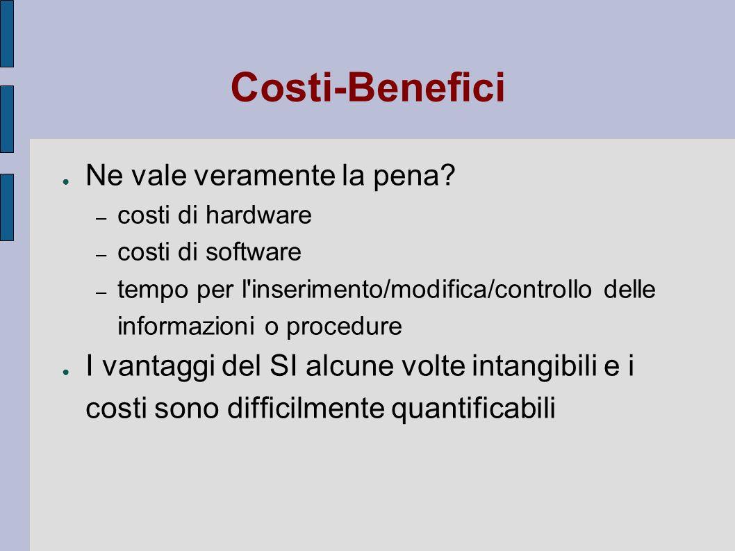 Costi-Benefici Ne vale veramente la pena
