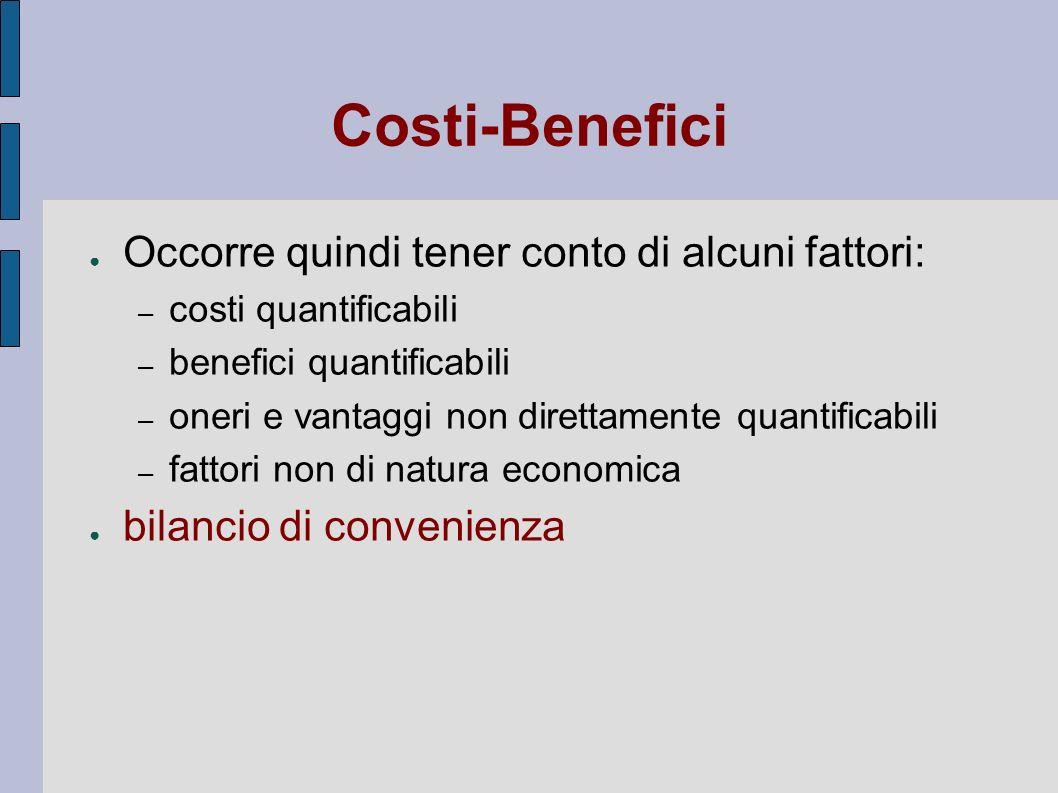 Costi-Benefici Occorre quindi tener conto di alcuni fattori: