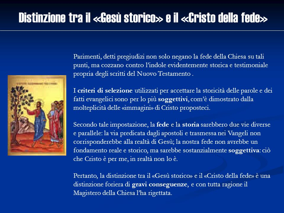Distinzione tra il «Gesù storico» e il «Cristo della fede»