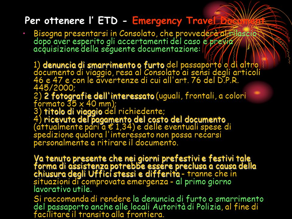Per ottenere l' ETD - Emergency Travel Document