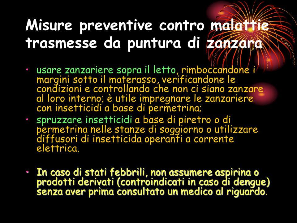 Misure preventive contro malattie trasmesse da puntura di zanzara