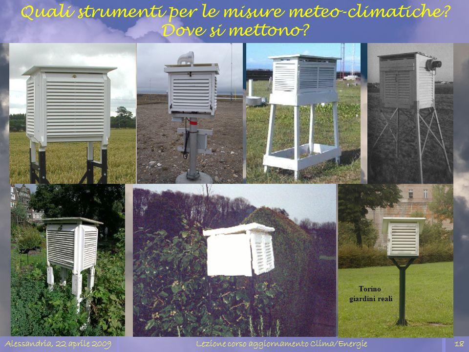 Quali strumenti per le misure meteo-climatiche Dove si mettono