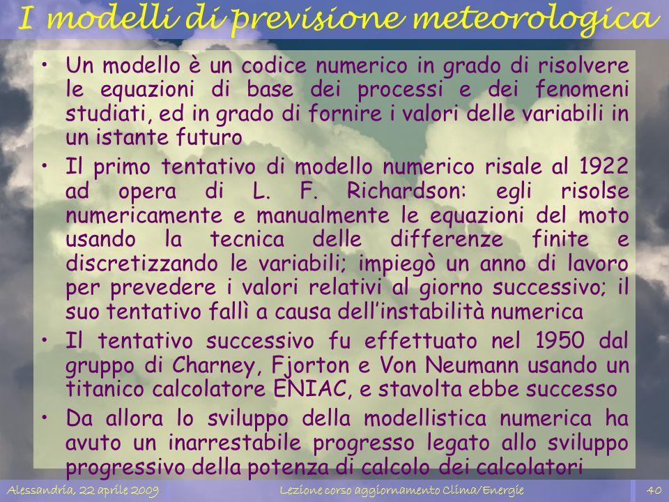 I modelli di previsione meteorologica