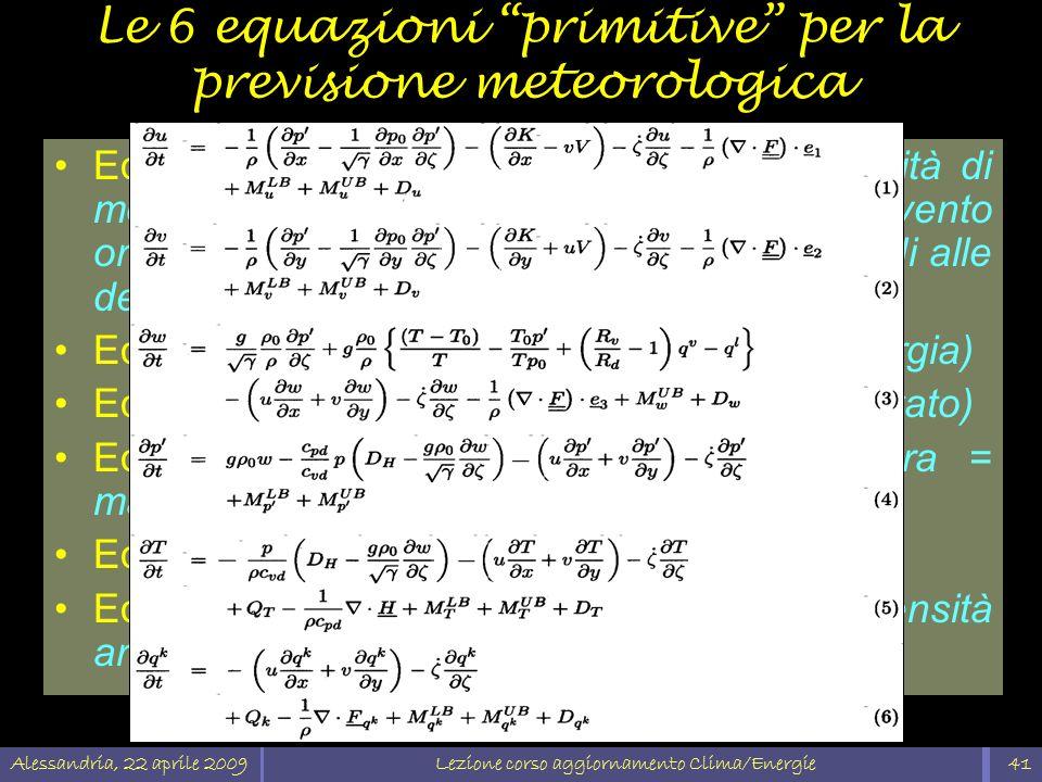 Le 6 equazioni primitive per la previsione meteorologica