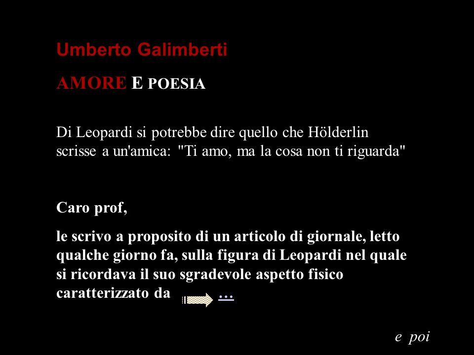 Umberto Galimberti AMORE E POESIA
