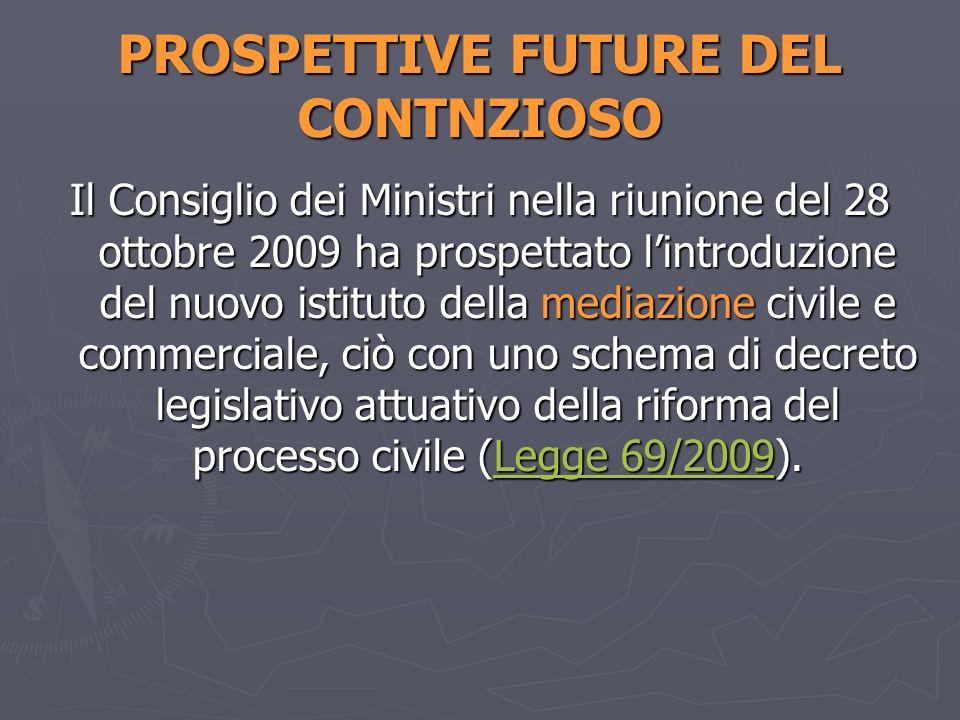 PROSPETTIVE FUTURE DEL CONTNZIOSO