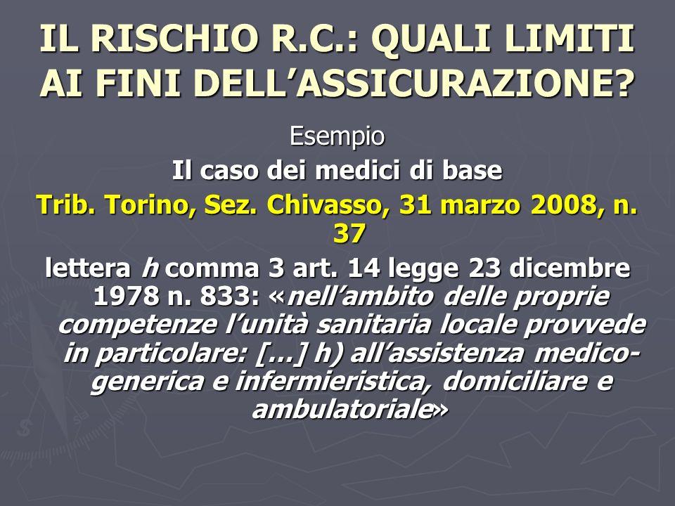 IL RISCHIO R.C.: QUALI LIMITI AI FINI DELL'ASSICURAZIONE