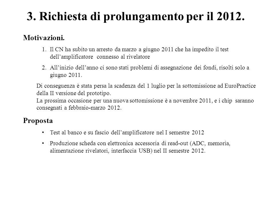3. Richiesta di prolungamento per il 2012.