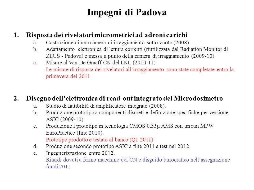 Impegni di Padova Risposta dei rivelatori micrometrici ad adroni carichi. Costruzione di una camera di irraggiamento sotto vuoto (2008)