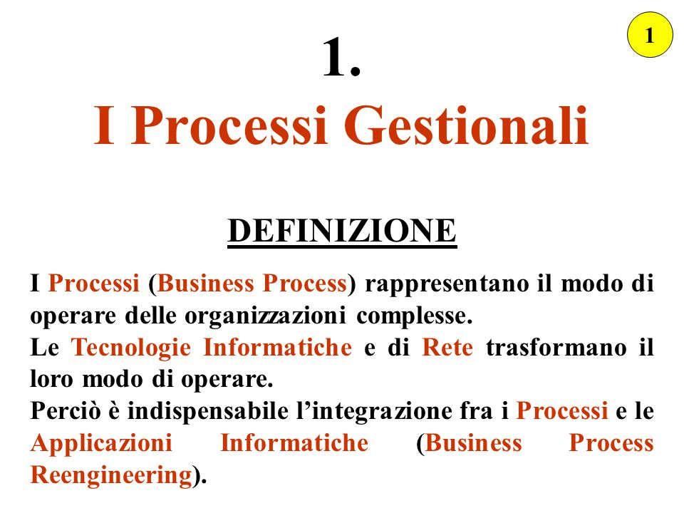 1. I Processi Gestionali DEFINIZIONE