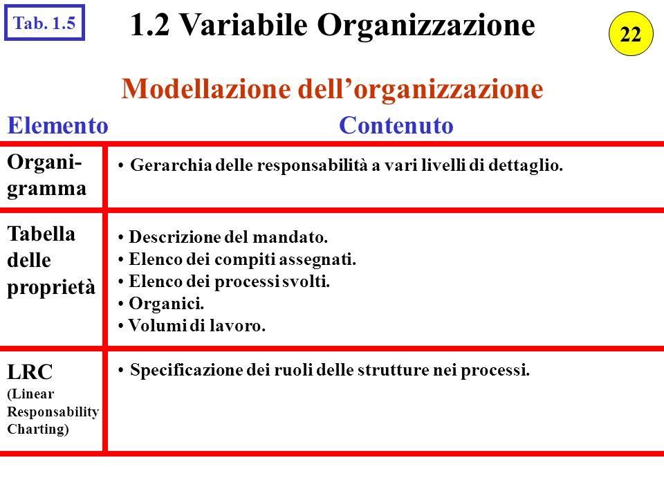 1.2 Variabile Organizzazione Modellazione dell'organizzazione
