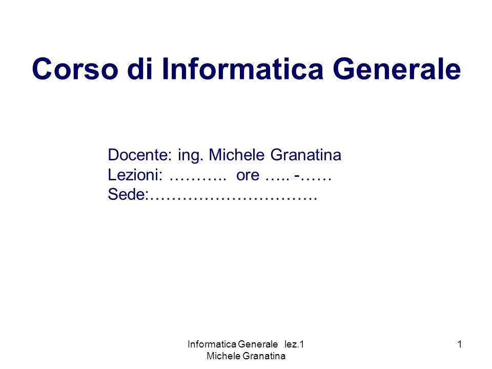 Corso di Informatica Generale