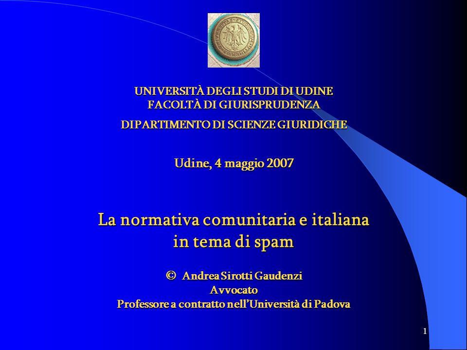 La normativa comunitaria e italiana in tema di spam