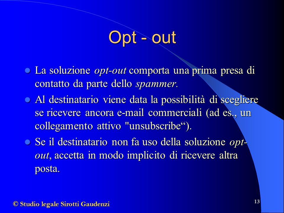 Opt - out La soluzione opt-out comporta una prima presa di contatto da parte dello spammer.