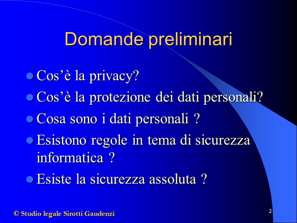 Domande preliminari Cos'è la privacy