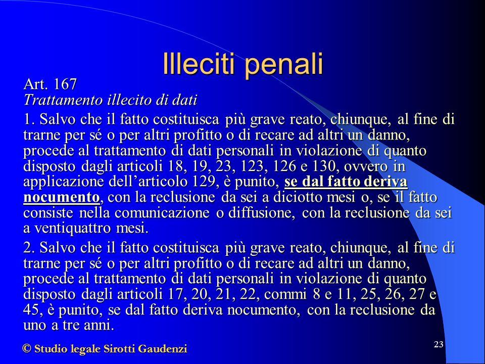 Illeciti penali Art. 167 Trattamento illecito di dati.
