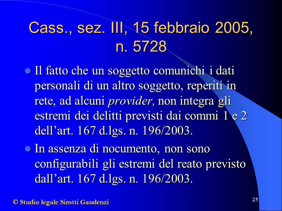 Cass., sez. III, 15 febbraio 2005, n. 5728