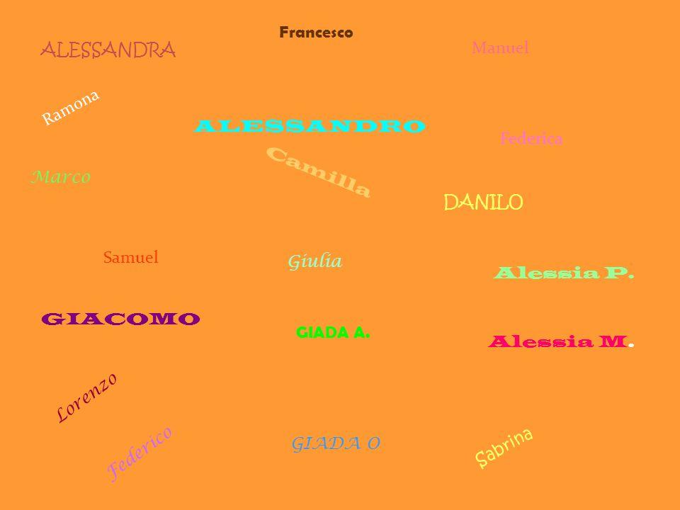 Francesco ALESSANDRA. Manuel. Ramona. ALESSANDRO. Federica. Marco. Camilla. DANILO. Samuel.