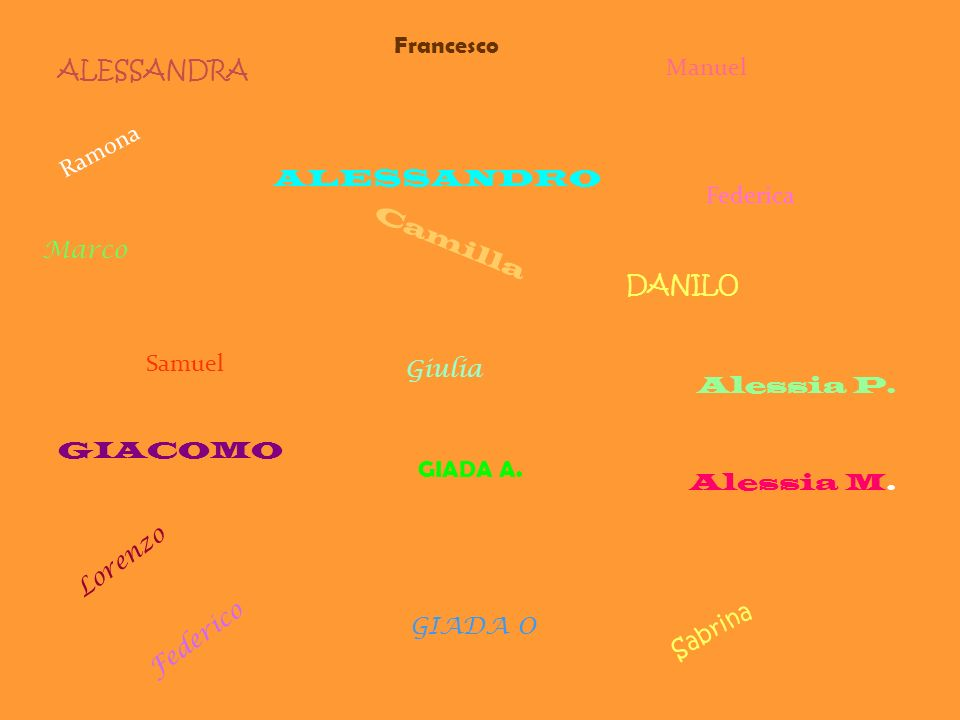 FrancescoALESSANDRA. Manuel. Ramona. ALESSANDRO. Federica. Marco. Camilla. DANILO. Samuel. Giulia. Alessia P.