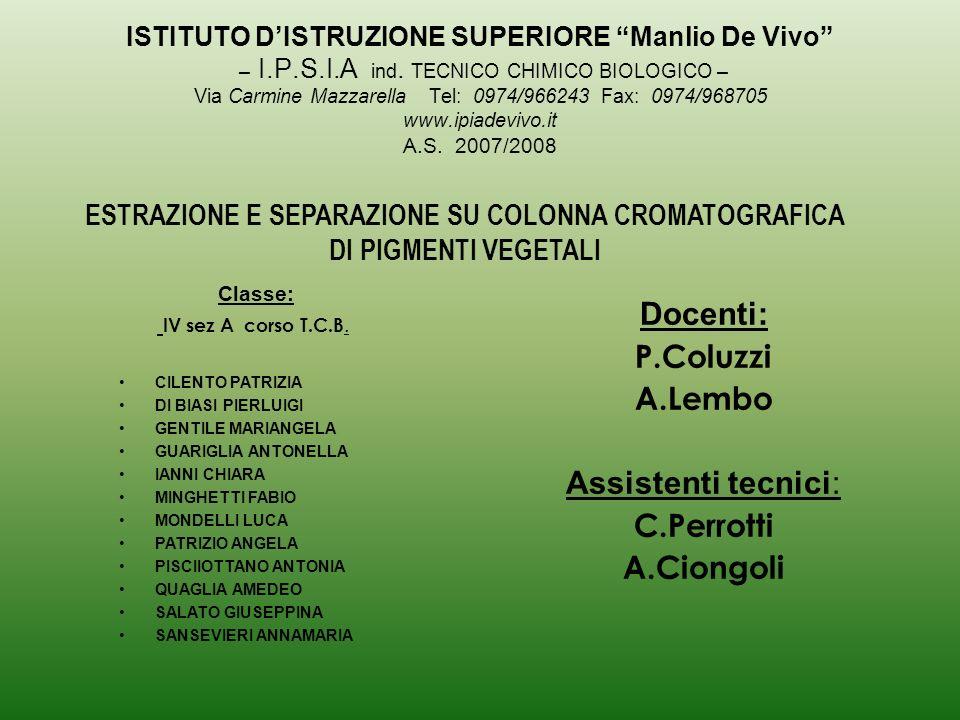 Docenti: P.Coluzzi A.Lembo Assistenti tecnici: C.Perrotti A.Ciongoli