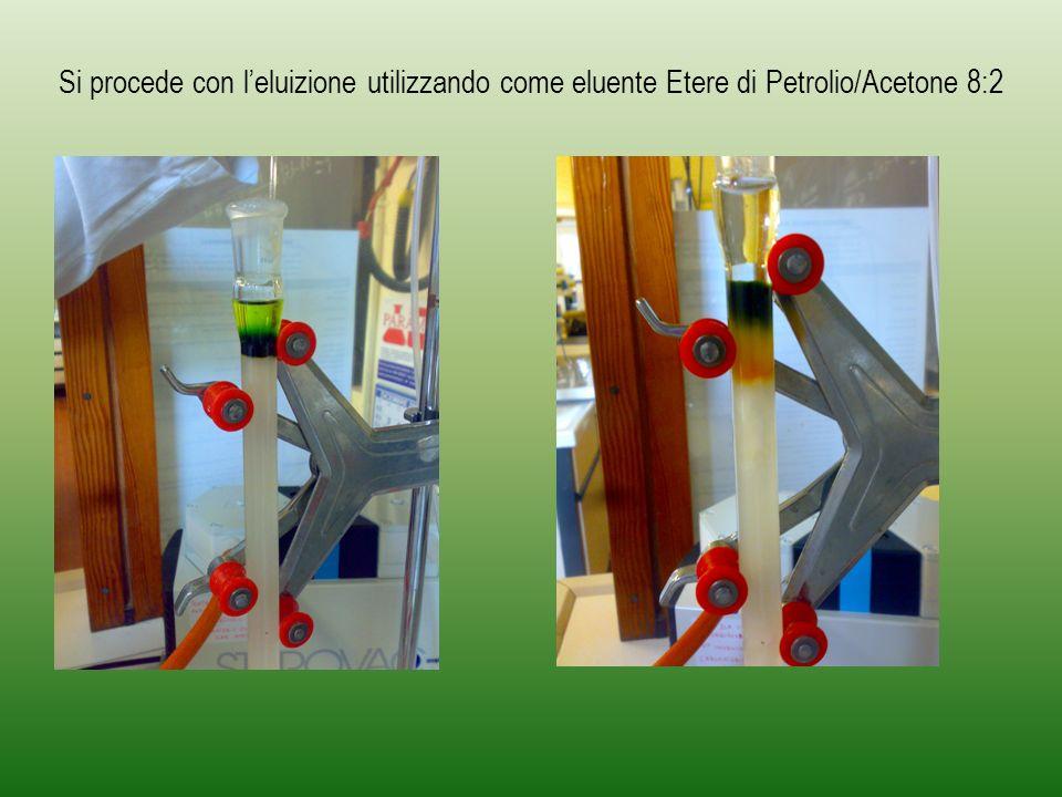 Si procede con l'eluizione utilizzando come eluente Etere di Petrolio/Acetone 8:2