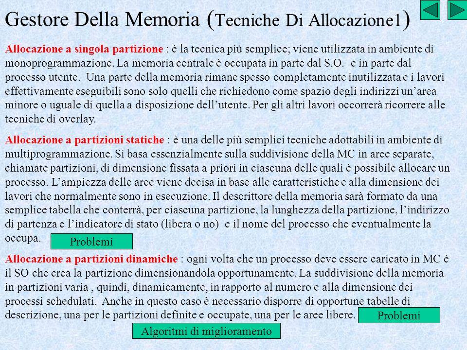 Gestore Della Memoria (Tecniche Di Allocazione1)