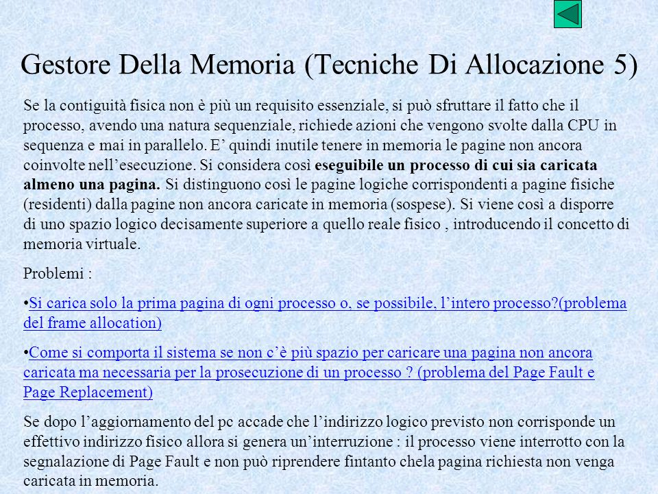Gestore Della Memoria (Tecniche Di Allocazione 5)