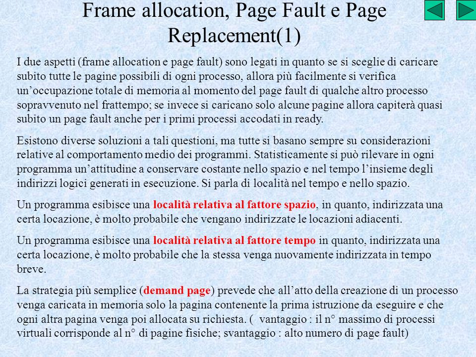 Frame allocation, Page Fault e Page Replacement(1)