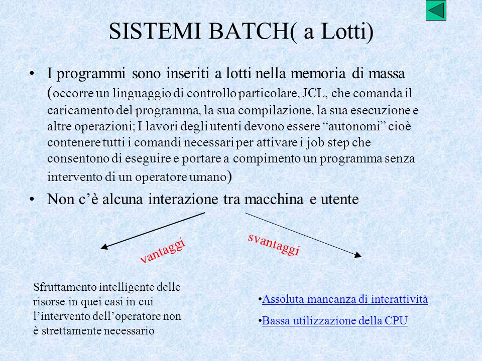 SISTEMI BATCH( a Lotti)