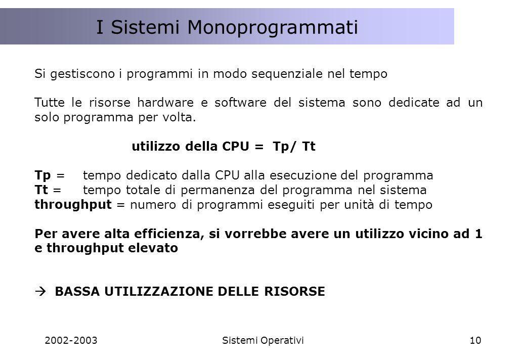 I Sistemi Monoprogrammati