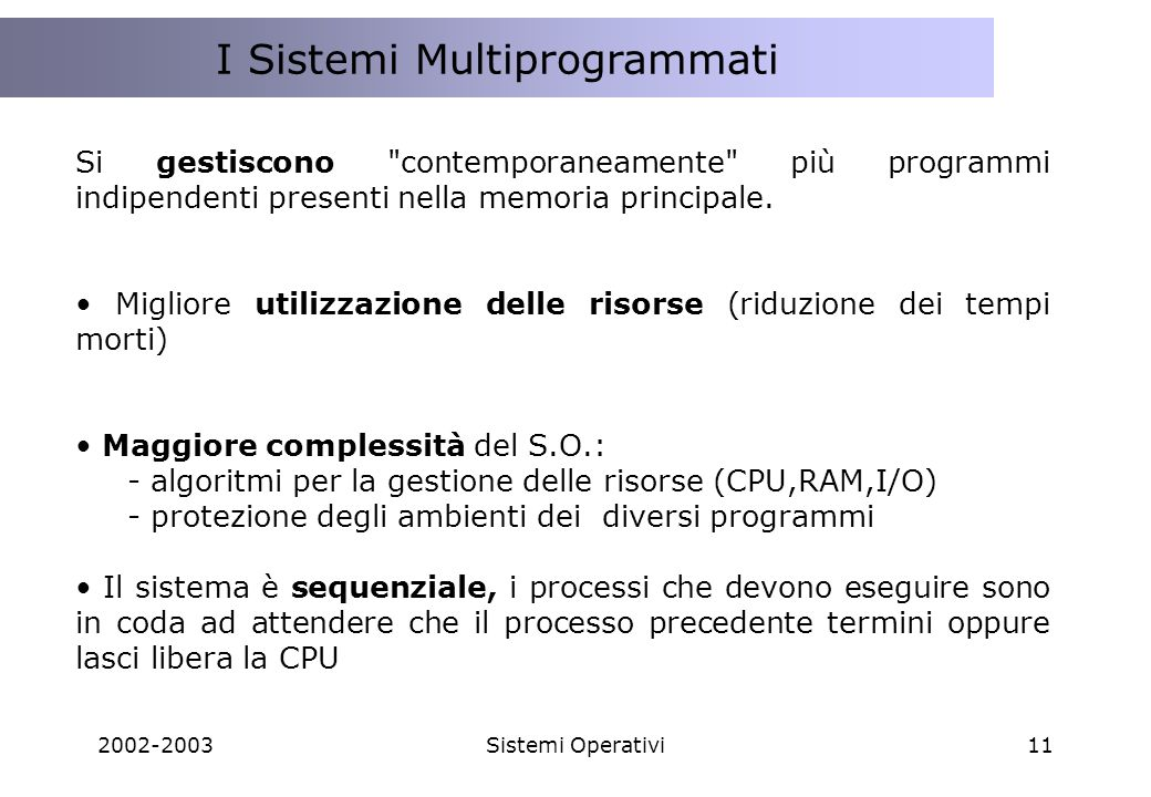 I Sistemi Multiprogrammati