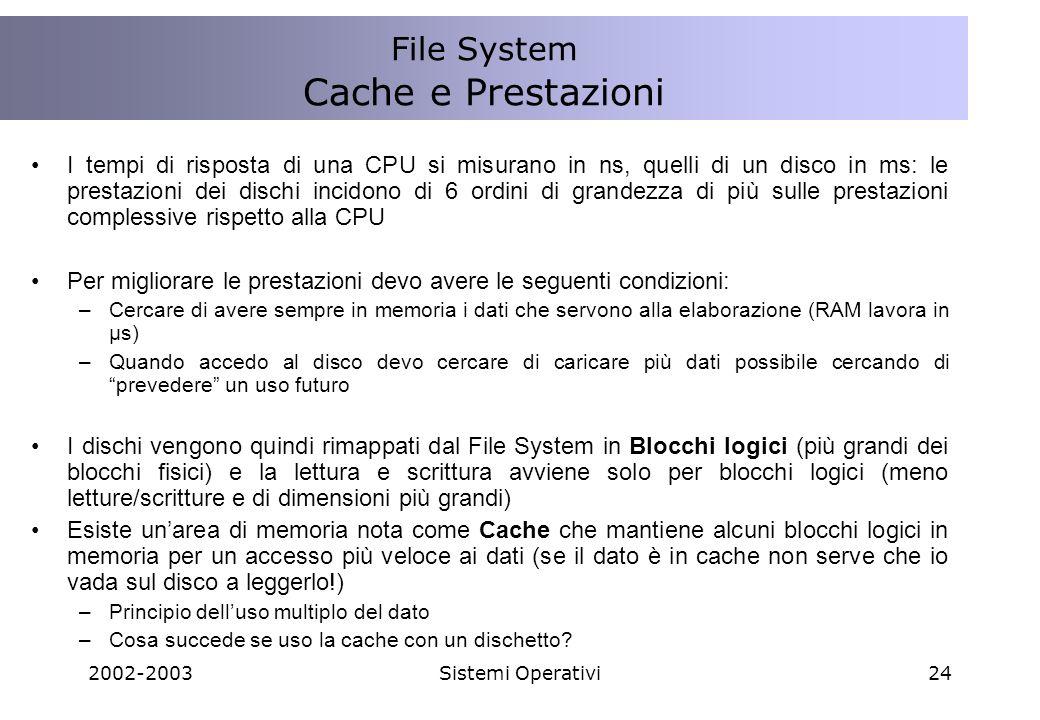 Cache e Prestazioni File System