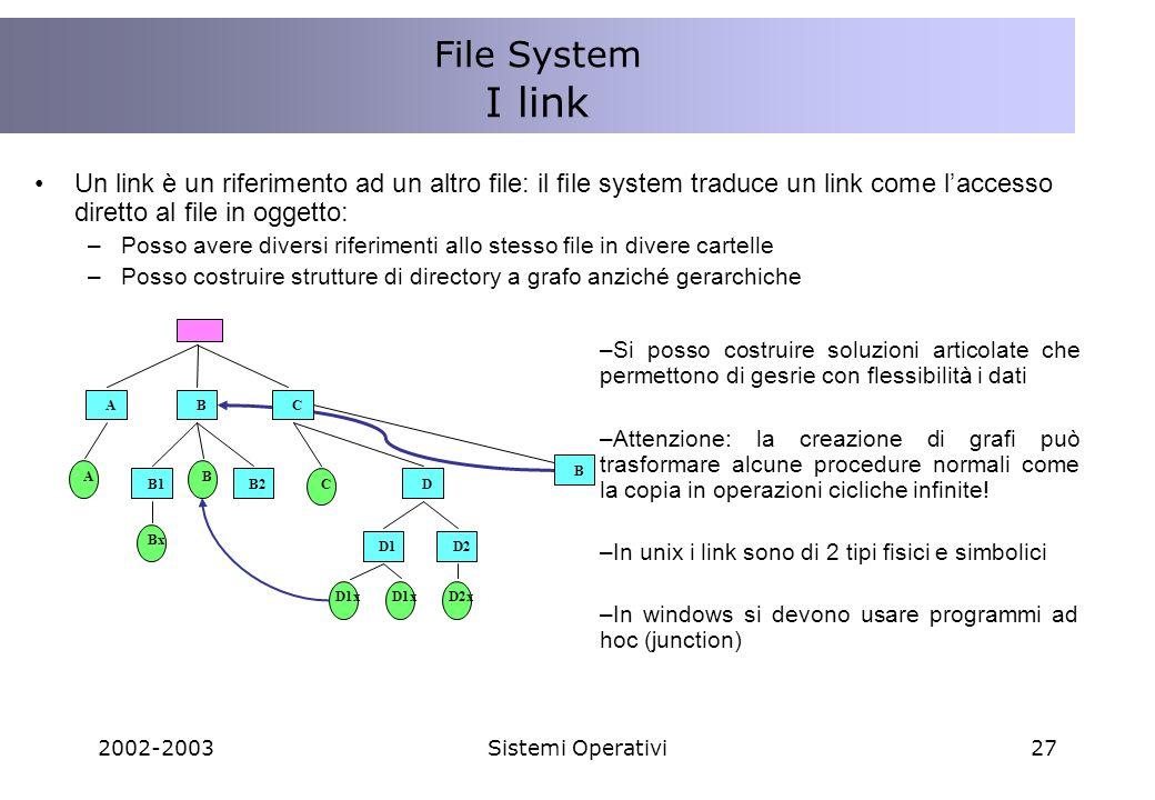 File System I link. Un link è un riferimento ad un altro file: il file system traduce un link come l'accesso diretto al file in oggetto: