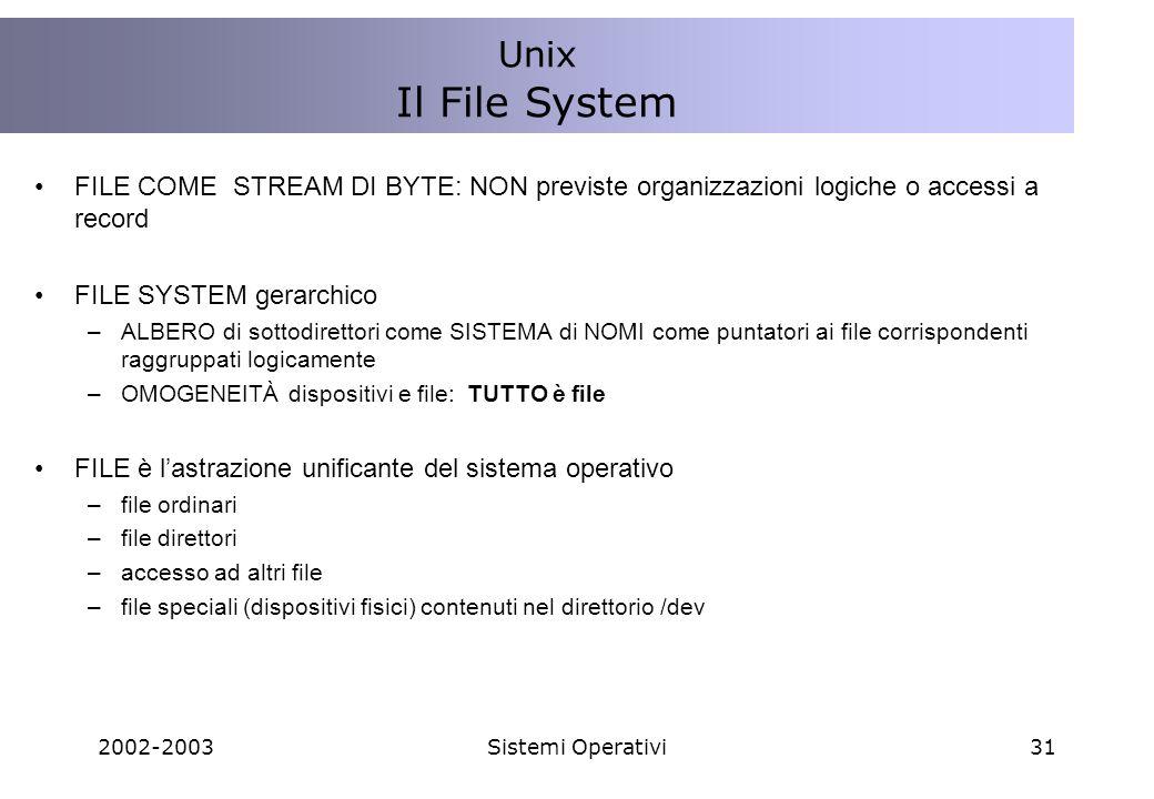 Unix Il File System. FILE COME STREAM DI BYTE: NON previste organizzazioni logiche o accessi a record.