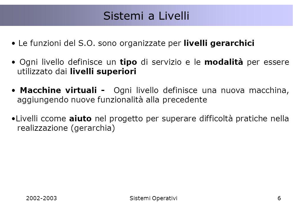 Sistemi a Livelli Lo STATO dell'interazione tra Client e Server