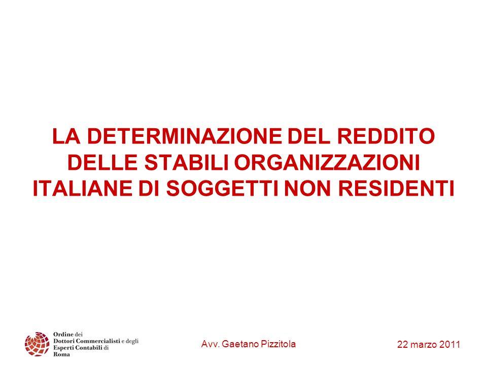 LA DETERMINAZIONE DEL REDDITO DELLE STABILI ORGANIZZAZIONI ITALIANE DI SOGGETTI NON RESIDENTI