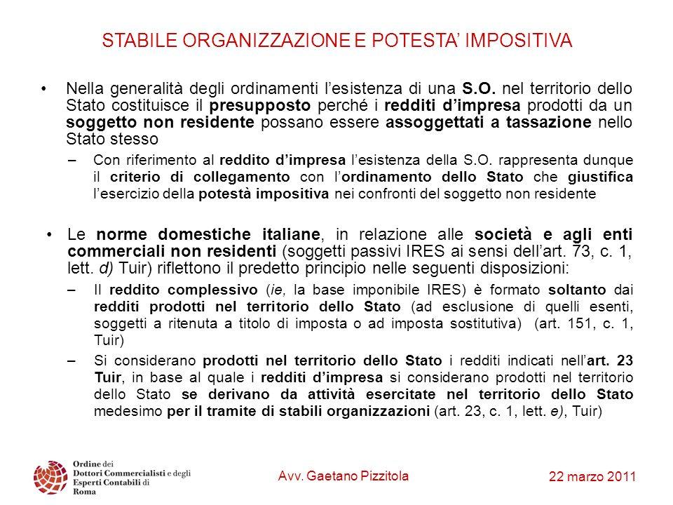 STABILE ORGANIZZAZIONE E POTESTA' IMPOSITIVA