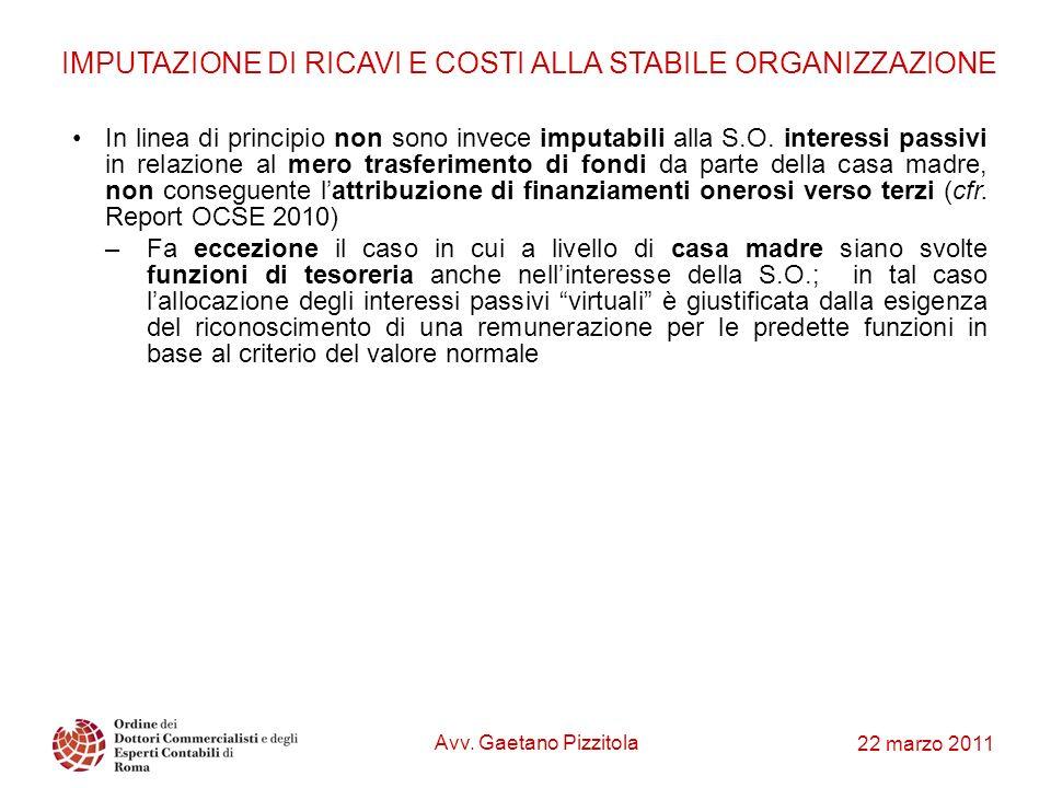 IMPUTAZIONE DI RICAVI E COSTI ALLA STABILE ORGANIZZAZIONE