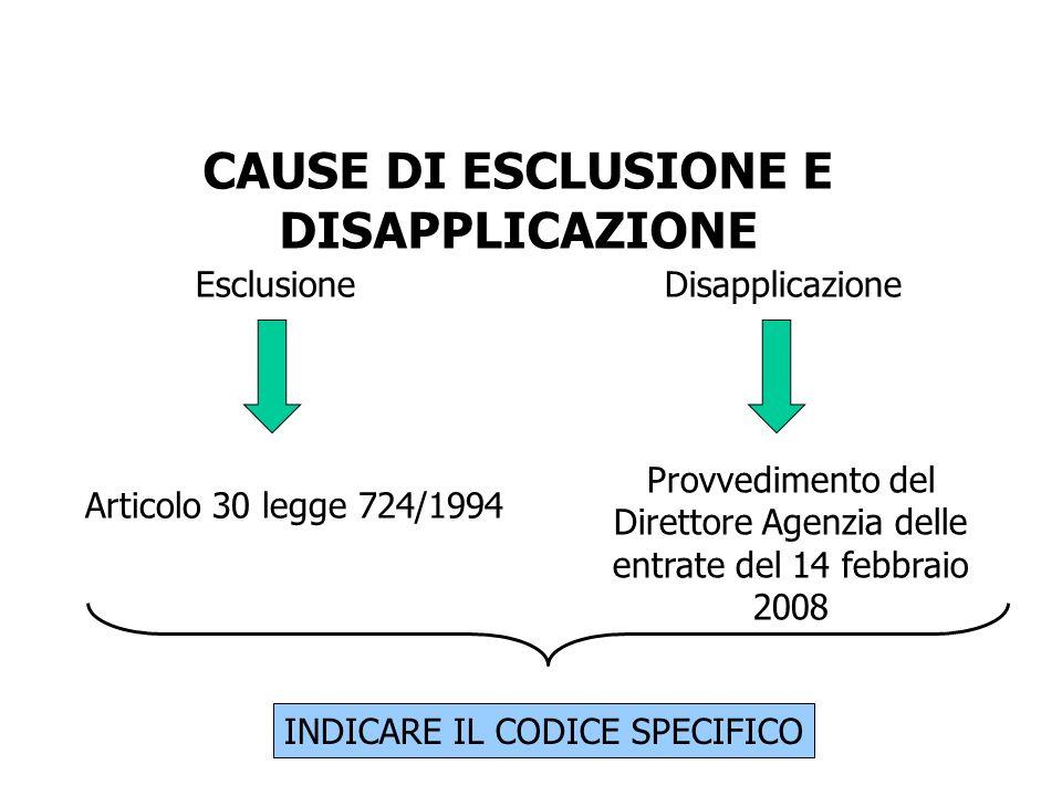 CAUSE DI ESCLUSIONE E DISAPPLICAZIONE