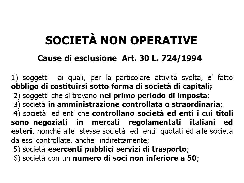 Cause di esclusione Art. 30 L. 724/1994