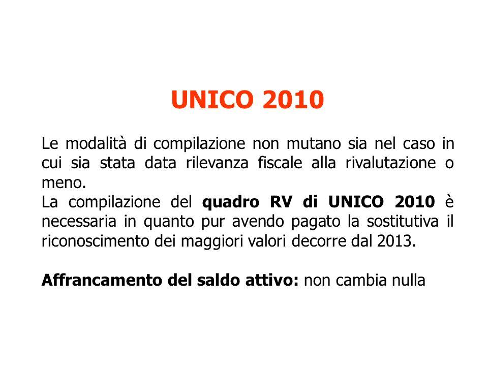 UNICO 2010 Le modalità di compilazione non mutano sia nel caso in cui sia stata data rilevanza fiscale alla rivalutazione o meno.